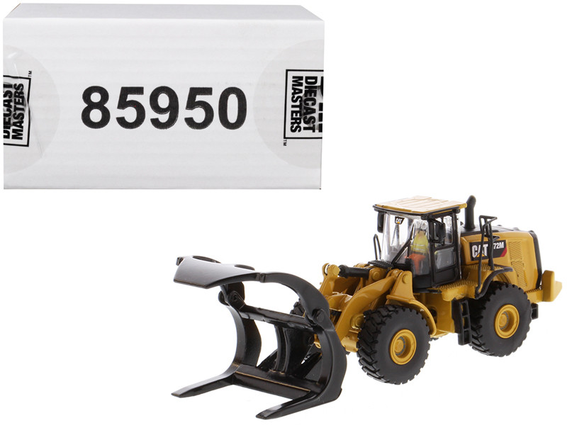CAT Caterpillar 972M Wheel Loader Log Fork and Operator High Line Series 1/87 HO Scale Diecast Model Diecast Masters 85950