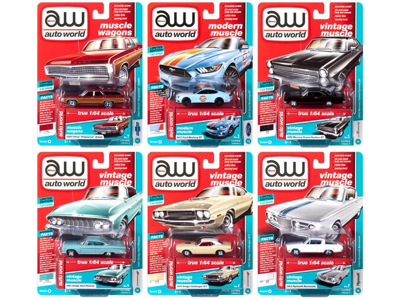 Autoworld Muscle Cars Premium 2019 Release 3 Set A 6 Cars 1/64 Diecast Models Autoworld 64202 A