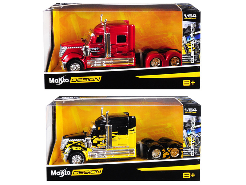 Set of 2 pieces International LoneStar Trucks Red and Black Custom Rigs 1/64 Diecast Models Maisto 12389