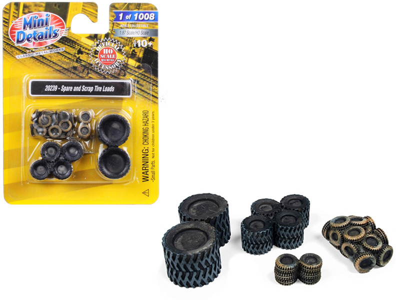 Spare and Scrap Tire Loads 4 piece Accessory Set for 1/87 HO Scale Models Classic Metal Works 20239