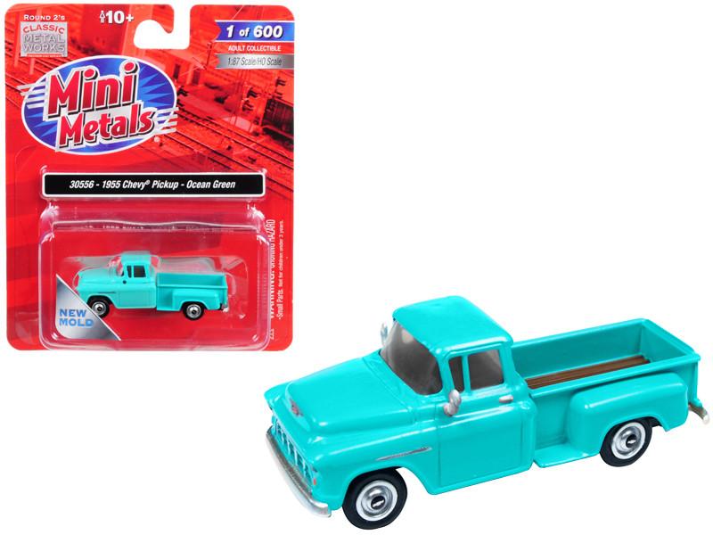 1955 Chevrolet Pickup Truck Ocean Green 1/87 HO Scale Model Car Classic Metal Works 30556