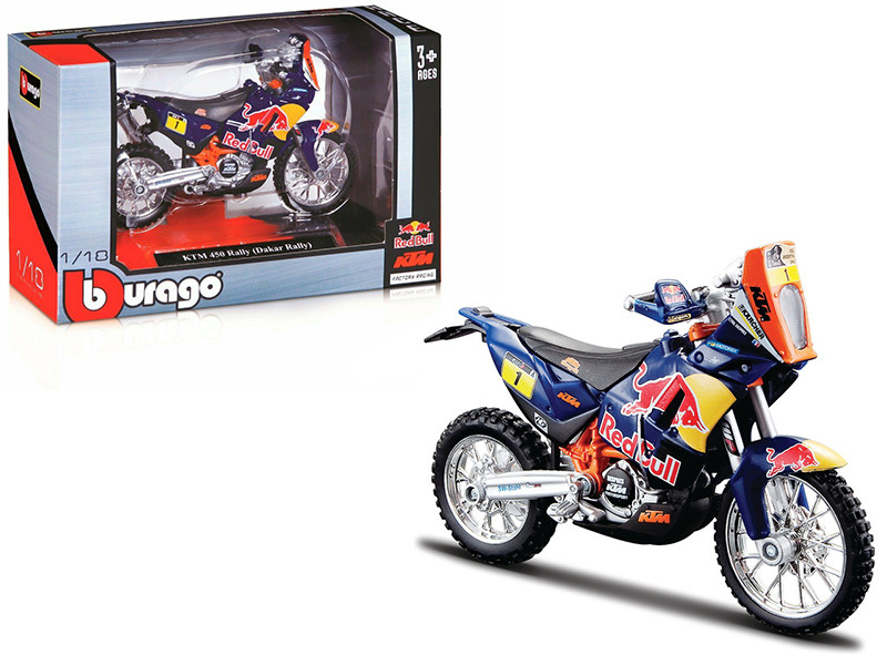 KTM 450 Rally Dakar #1 Red Bull 1/18 Diecast Motorcycle Model Bburago 51071