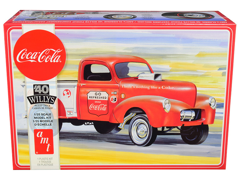 Skill 3 Model Kit 1940 Willys Gasser Pickup Truck Coca Cola 1/25 Scale Model AMT AMT1145 M