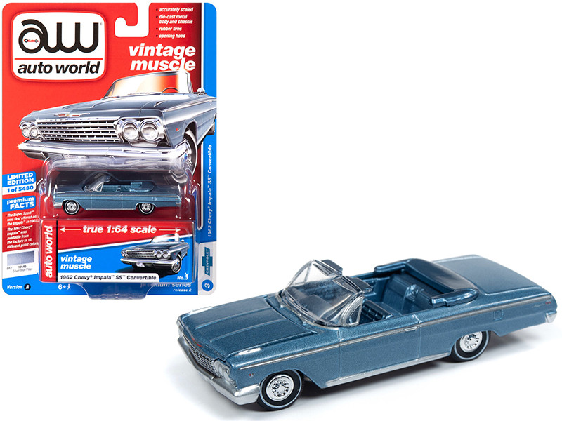 1967 Chevrolet Chevelle SS Marina Blue Vintage Muscle 1//64 Diecast Model Car
