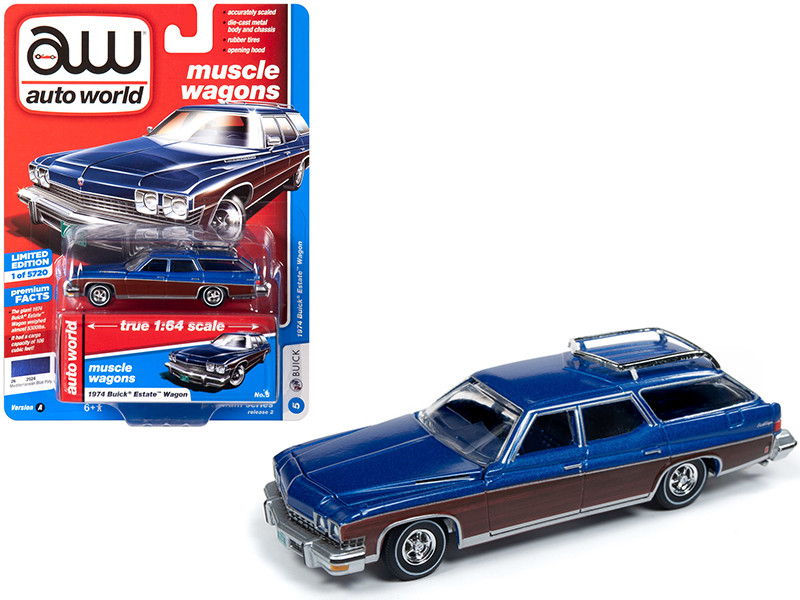 1974 Buick Estate Wagon Mediterranean Blue Metallic Woodgrain Sides Muscle Wagons Limited Edition 5720 pieces Worldwide 1/64 Diecast Model Car Autoworld 64222 CP7597