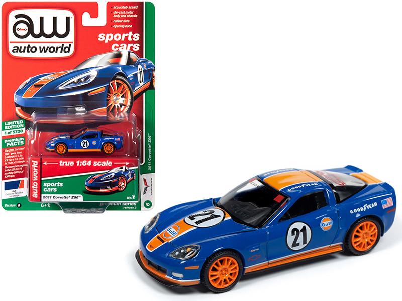 2011 Chevrolet Corvette Z06 #21 Gulf Oil Dark Blue Orange Stripes Sports Cars Limited Edition 5720 pieces Worldwide 1/64 Diecast Model Car Autoworld 64222 CP7602