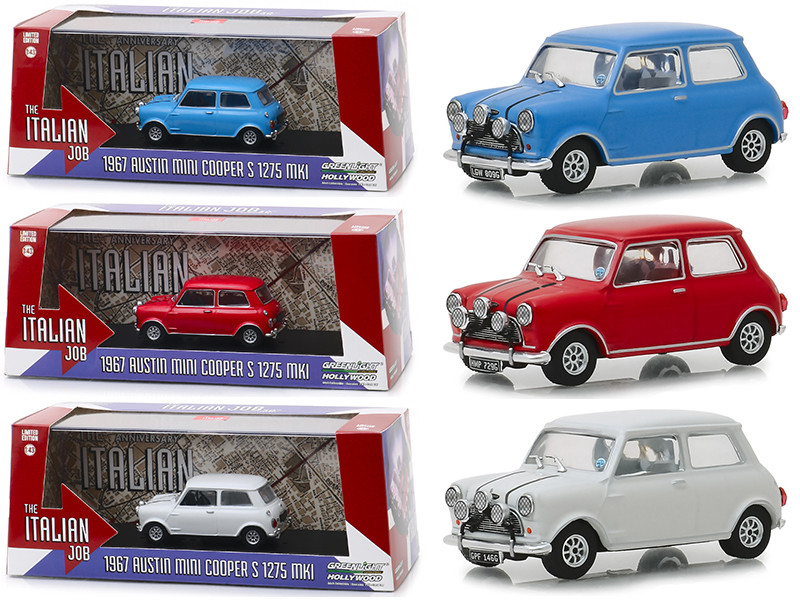 The Italian Job 1969 Movie Austin Mini Cooper 3 piece Set 1/43 Diecast Model Cars Greenlight 86549 86550 86551