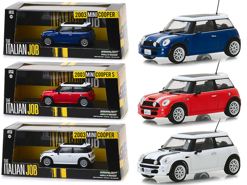Mini Cooper 3 piece Set The Italian Job 2003 Movie 1/43 Diecast Model Cars Greenlight 86546 86547 86548