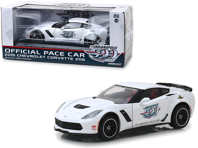2015 Chevrolet Corvette Z06 White Indianapolis 500 Official Pace Car 1/24 Diecast Model Car Greenlight 18252