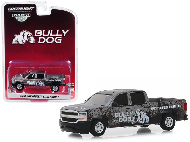 2018 Chevrolet Silverado 4x4 Pickup Truck Bully Dog Make Your Ride a Bully Dog Hobby Exclusive 1/64 Diecast Model Car Greenlight 30084
