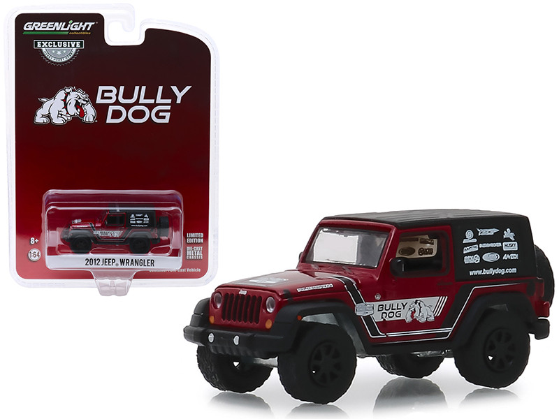 2012 Jeep Wrangler Red Black Top Bully Dog Hobby Exclusive 1/64 Diecast Model Car Greenlight 30086