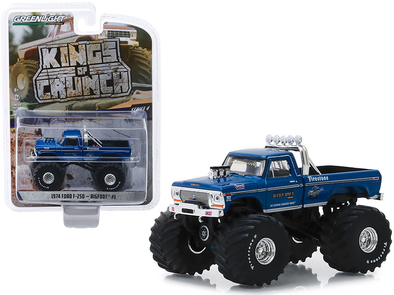 1974 Ford F-250 Monster Truck Bigfoot #1 66-Inch Tires Blue Clean Version Kings of Crunch Series 4 1/64 Diecast Model Car Greenlight 49040 A