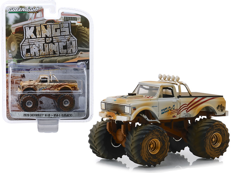 1970 Chevrolet K-10 Monster Truck USA-1 White Dirty Version Kings of Crunch Series 4 1/64 Diecast Model Car Greenlight 49040 D