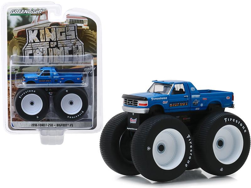 1996 Ford F-250 Monster Truck Bigfoot #5 Blue Kings of Crunch Series 4 1/64 Diecast Model Car Greenlight 49040 E