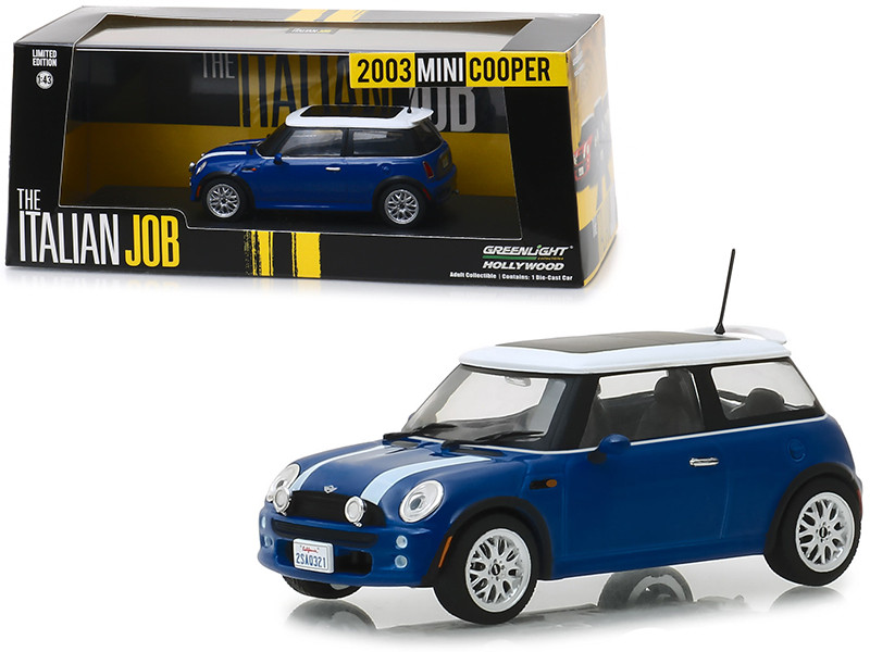 2003 Mini Cooper Blue White Stripes The Italian Job 2003 Movie 1/43 Diecast Model Car Greenlight 86546
