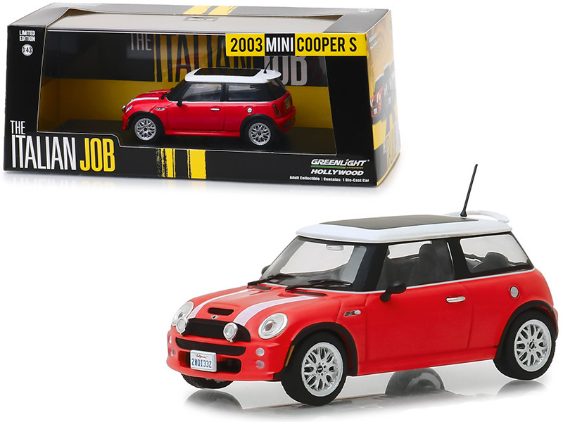 2003 Mini Cooper S Red White Stripes The Italian Job 2003 Movie 1/43 Diecast Model Car Greenlight 86547