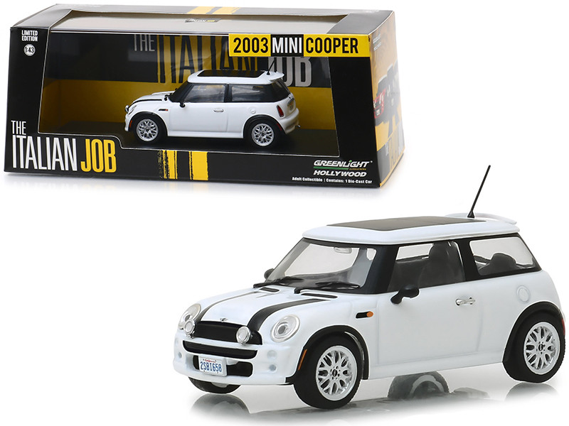 2003 Mini Cooper White Black Stripes The Italian Job 2003 Movie 1/43 Diecast Model Car Greenlight 86548