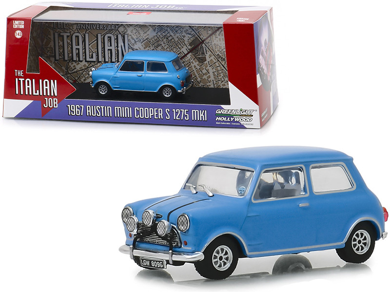 1967 Austin Mini Cooper S 1275 MkI Light Blue The Italian Job 1969 Movie 1/43 Diecast Model Car Greenlight 86549