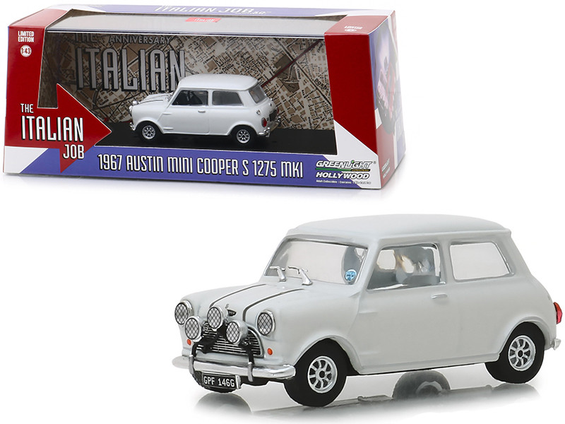 1967 Austin Mini Cooper S 1275 MkI White The Italian Job 1969 Movie 1/43 Diecast Model Car Greenlight 86551