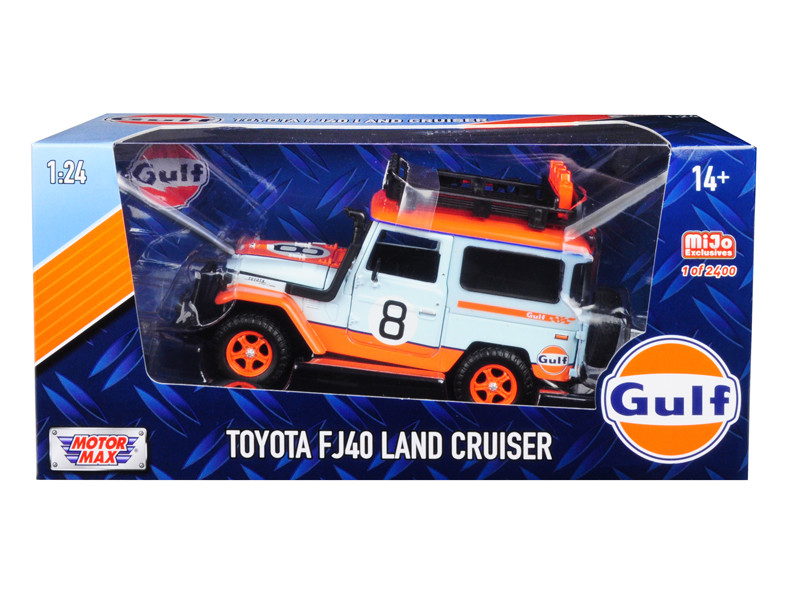 Toyota FJ40 Land Cruiser #8 Gulf Oil White Limited Edition 2400 pieces Worldwide 1/24 Diecast Model Car Motormax 79658