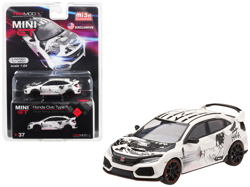 Honda Civic Type R FK8 ArtCar Manga 2018 Paris Auto Show Limited Edition 3600 pieces Worldwide 1/64 Diecast Model Car True Scale Miniatures MGT00037