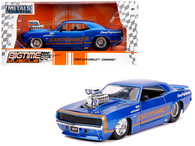 1969 Chevrolet Camaro Earthshaker Candy Blue Gold Stripe Bigtime Muscle 1/24 Diecast Model Car Jada 31323