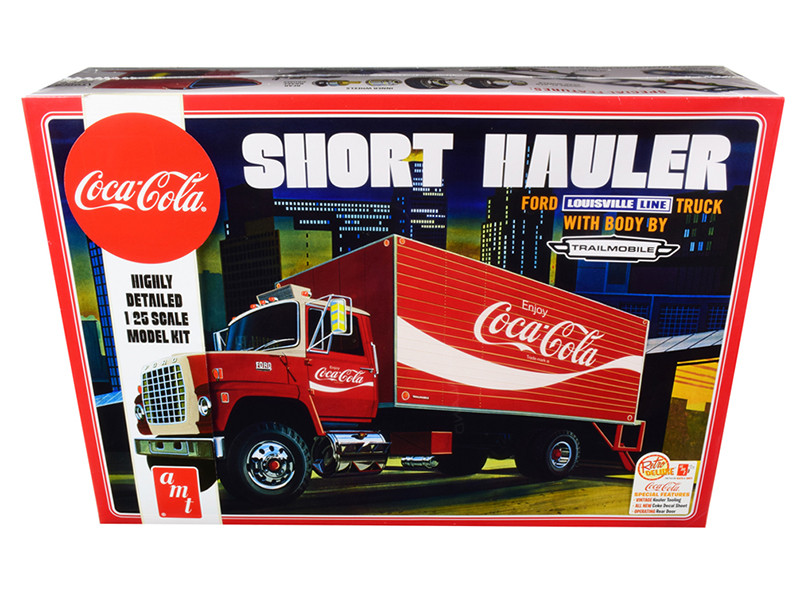 Skill 3 Model Kit Ford Louisville Line Short Hauler Truck Trailmobile Body Coca Cola 1/25 Scale Model AMT AMT1048