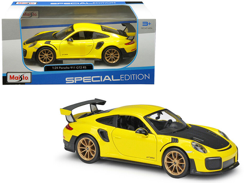 Porsche 911 GT2 RS Yellow Carbon Hood 1/24 Diecast Model Car Maisto 31523