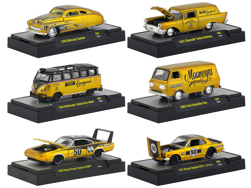 Auto Thentics Mooneyes Special Edition 6 piece Set IN DISPLAY CASES 1/64 Diecast Model Cars M2 Machines 32500-S69