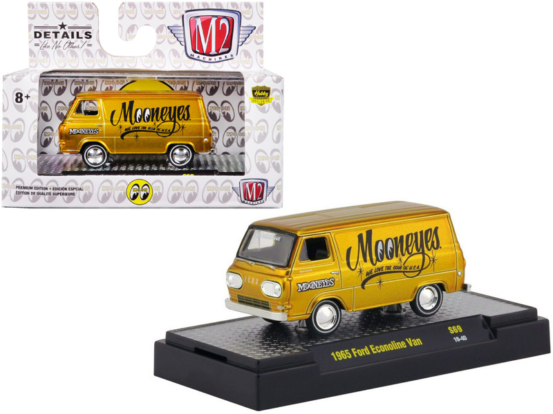 1965 Ford Econoline Van Mooneyes Liquid Gold Limited Edition 3680 pieces Worldwide 1/64 Diecast Model Car M2 Machines 32500-S69-S2F