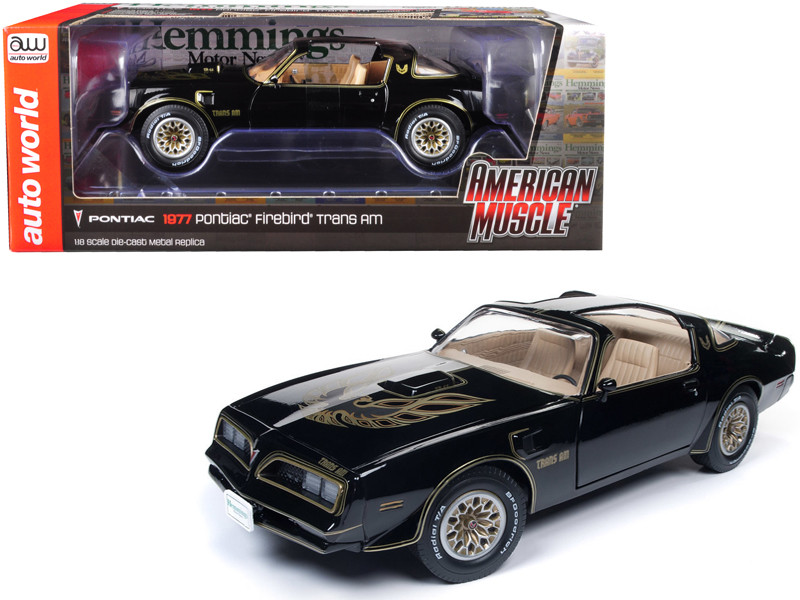 1977 Pontiac Firebird Trans Am Special Edition Black Hemmings Muscle Machines Cover Car October 2007 Limited Edition 1002 pieces Worldwide 1/18 Diecast Model Car Autoworld AMM1177