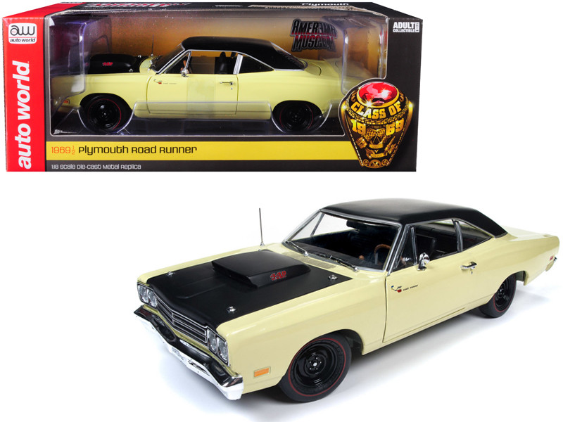 1969/5 Plymouth Road Runner Coupe Sunfire Yellow Black Top Looney Tunes Limited Edition 1002 pieces Worldwide 1/18 Diecast Model Car Autoworld AMM1179