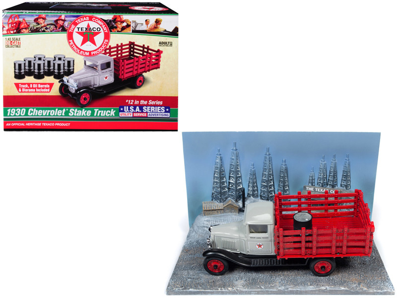 1930 Chevrolet Stake Truck Eight Oil Barrels Oil Derricks Diorama Texaco 12th in the USA Series 1/43 Diecast Model Autoworld CP7551
