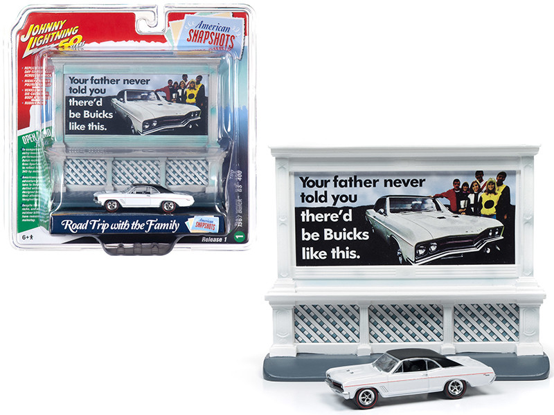 1967 Buick GS 400 White Buick City Billboard Johnny Lightning 50th Anniversary 1/64 Diecast Model Car Johnny Lightning JLAC001