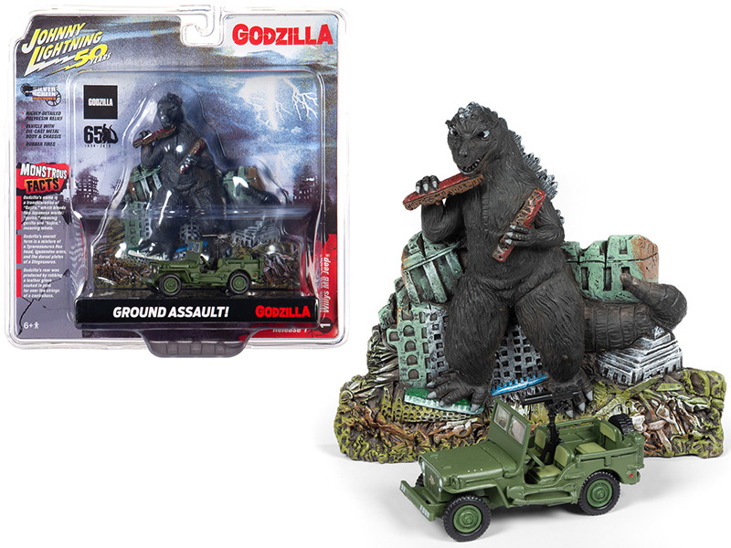 Willys MB Jeep Japan Police Reserve Corps Godzilla Facade Diorama Godzilla 65th Anniversary 1954 2019 Johnny Lightning 50th Anniversary 1/64 Diecast Model Car Johnny Lightning JLDR008 JLSP065