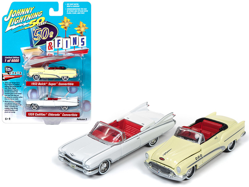 1959 Cadillac Eldorado Convertible White 1953 Buick Super Convertible Cream Set 2 pieces 50's and Fines Johnny Lightning 50th Anniversary Limited Edition 6000 pieces Worldwide 1/64 Diecast Model Cars Johnny Lightning JLPK008
