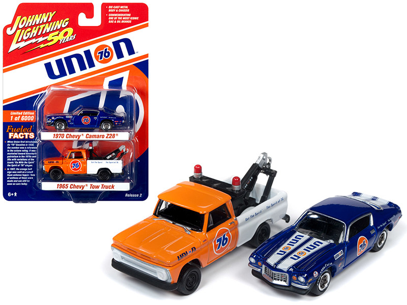 1965 Chevrolet Tow Truck 1970 Chevrolet Camaro Z/28 Set 2 pieces Union 76 Johnny Lightning 50th Anniversary Limited Edition 6000 pieces Worldwide 1/64 Diecast Model Cars Johnny Lightning JLPK008