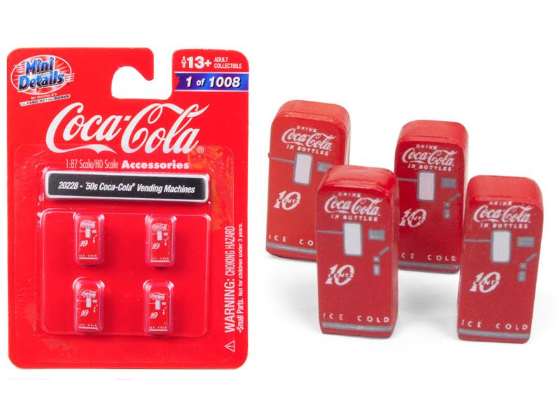 1950's Coca Cola Vending Machines 4 piece Accessory Set 1/87 HO Scale Models Classic Metal Works 20228