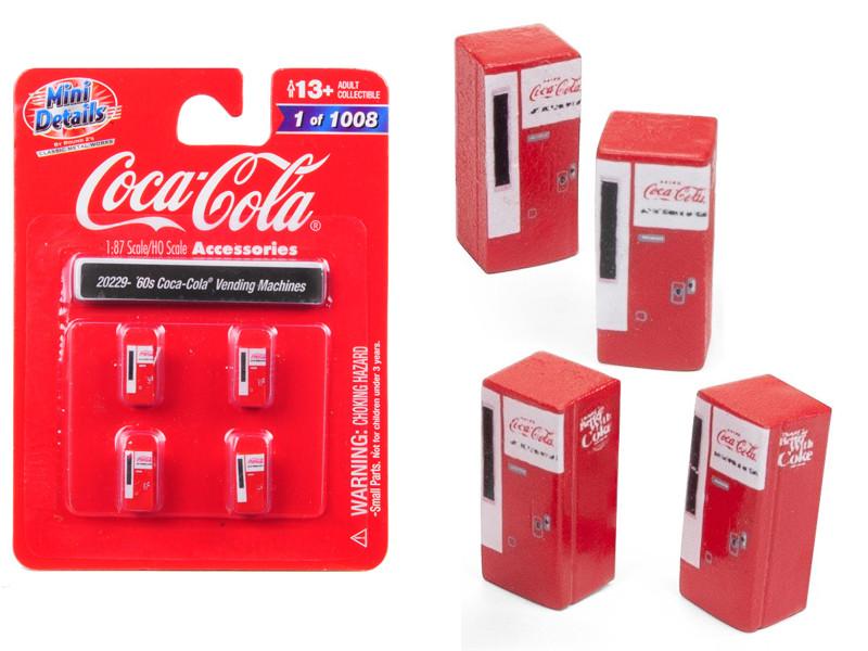 1960's Coca Cola Vending Machines 4 piece Accessory Set 1/87 HO Scale Models Classic Metal Works 20229