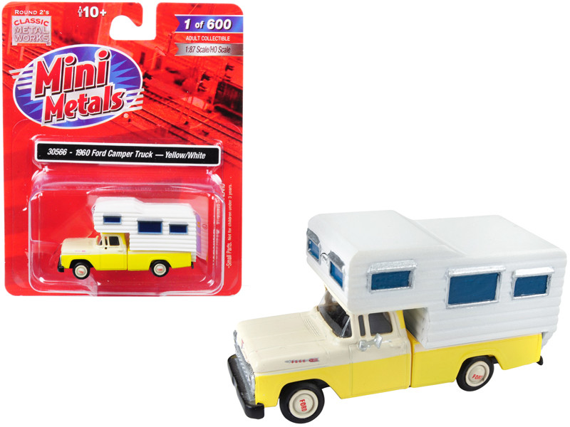 1960 Ford Camper Truck Yellow White 1/87 HO Scale Model Car Classic Metal Works 30566