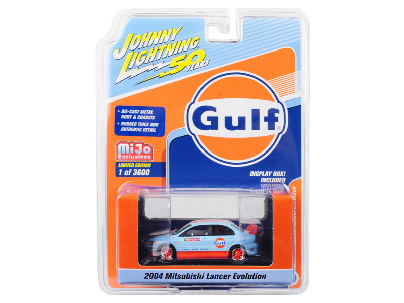 2004 Mitsubishi Lancer Evolution #74 Gulf Oil Johnny Lightning 50th Anniversary Limited Edition 3600 pieces Worldwide 1/64 Diecast Model Car Johnny Lightning JLCP7203