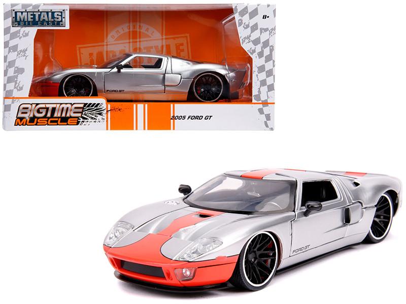 2005 Ford GT Silver Orange Stripe Bigtime Muscle 1/24 Diecast Model Car Jada 31324