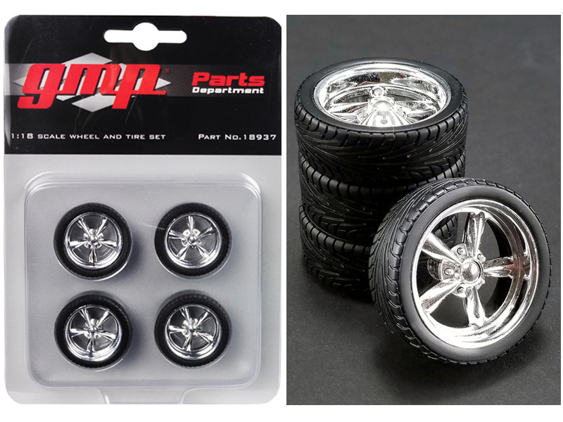 5-Spoke Chrome Custom Street Fighter Wheels and Tires Set 4 pieces 1/18 GMP 18937
