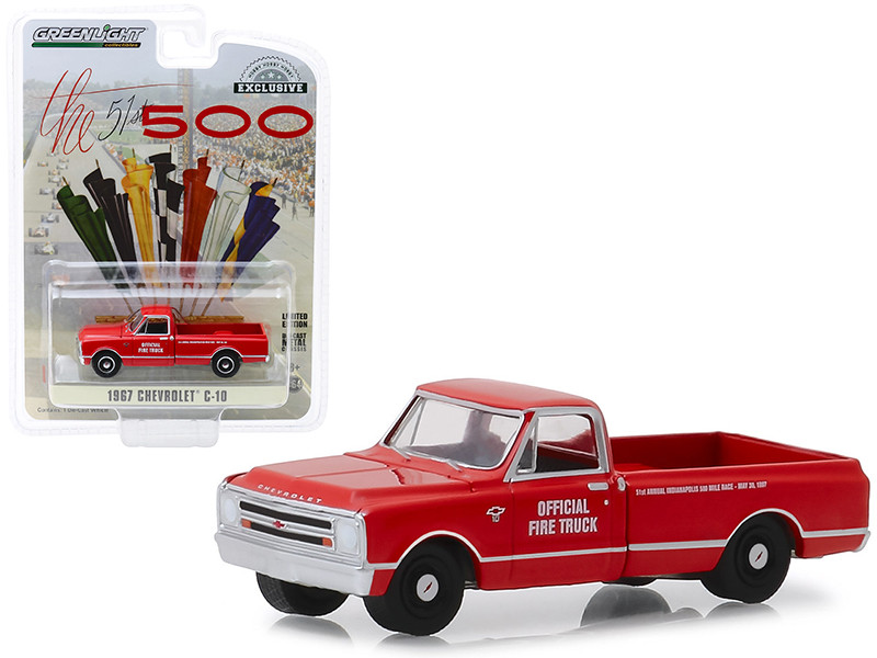 1967 Chevrolet C-10 Fire Pickup Truck Red 51th Annual Indianapolis 500 Mile Race Official Fire Truck Hobby Exclusive 1/64 Diecast Model Car Greenlight 30030