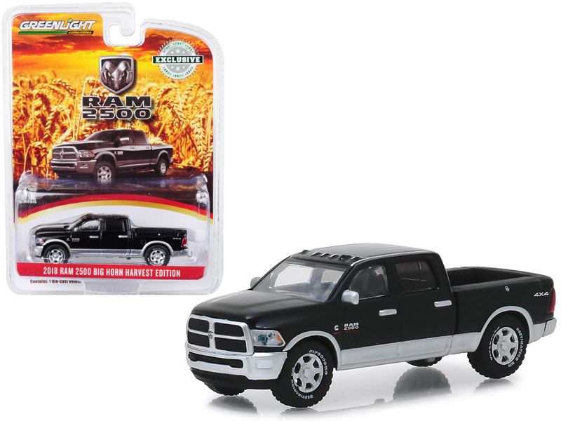 2018 Dodge Ram 2500 Big Horn Pickup Truck Brilliant Black Silver Harvest Edition Hobby Exclusive 1/64 Diecast Model Car Greenlight 30047