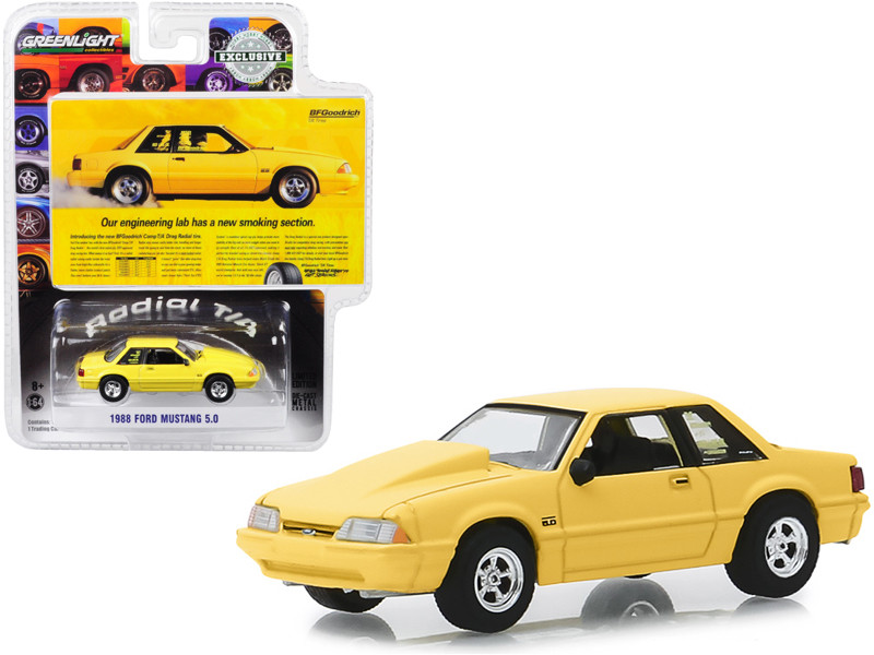 1988 Ford Mustang 5.0 Yellow Our Engineering Lab Has A New Smoking Section BFGoodrich Vintage Ad Cars Hobby Exclusive 1/64 Diecast Model Car Greenlight 30062