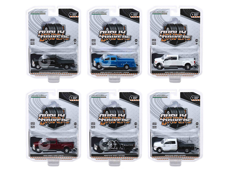 Dually Drivers Series 1 Set of 6 Trucks 1/64 Diecast Model Cars Greenlight 46010
