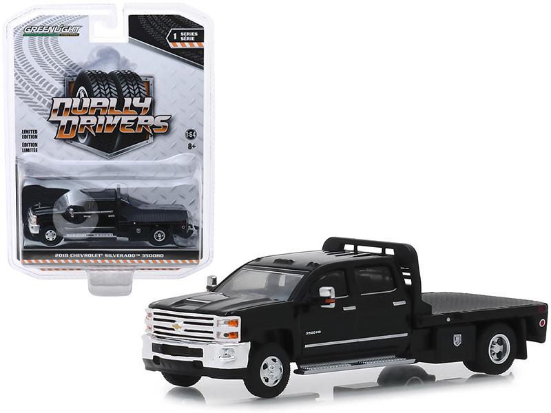 2018 Chevrolet Silverado 3500HD Dually Flatbed Truck Black Dually Drivers Series 1 1/64 Diecast Model Car Greenlight 46010 A