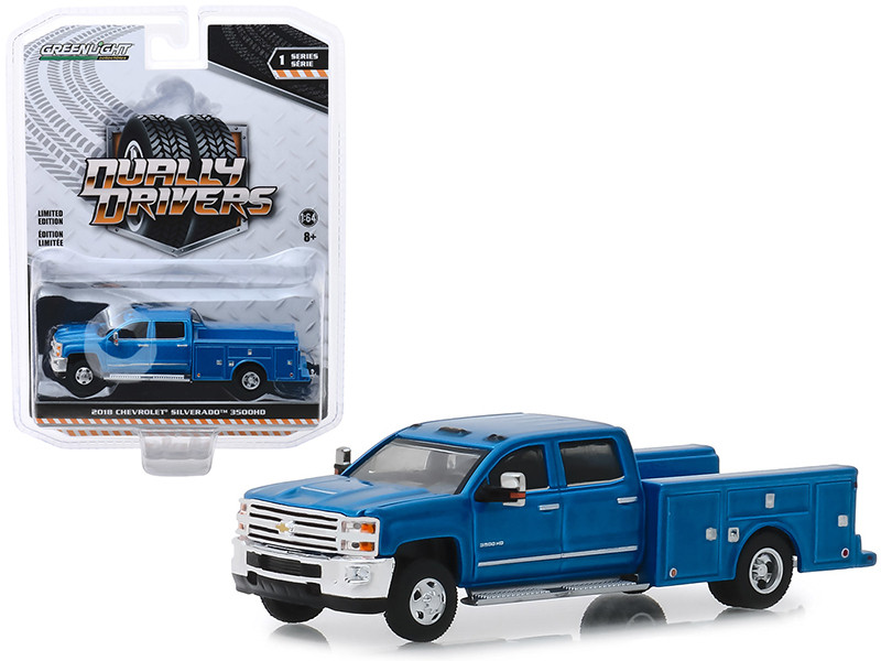 2018 Chevrolet Silverado 3500HD Dually Service Bed Truck Deep Ocean Blue Metallic Dually Drivers Series 1 1/64 Diecast Model Car Greenlight 46010 B