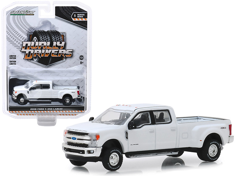 2018 Ford F-350 Lariat Pickup Truck Oxford White Dually Drivers Series 1 1/64 Diecast Model Car Greenlight 46010 C